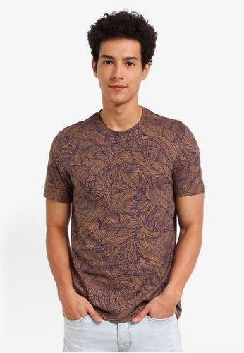 Burton Menswear London orange Bronze All Over Floral Print T-Shirt B0017AA2495926GS_1