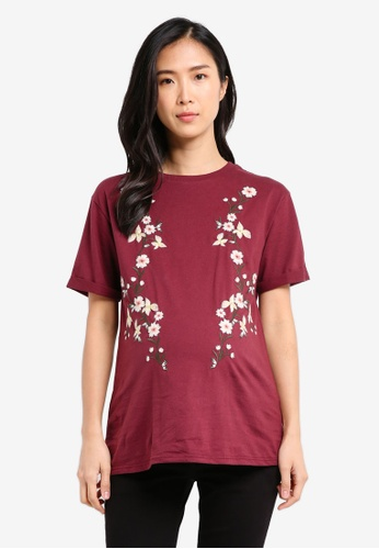TOPSHOP red Maternity Embroidered T-Shirt TO412AA0SRT1MY_1