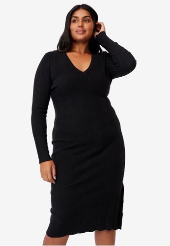 Cotton On black Curve Emily Long Sleeve Midi Split Dress 86288AAFAE684FGS_1