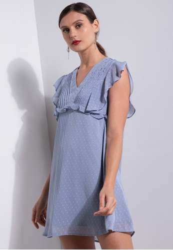 ZALORA OCCASION blue V Neck Babydoll Dress With Ruffles 08483AA649BA3FGS_1