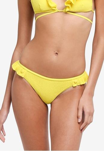 LOST INK yellow Woven Frill Bikini Bottom 64943US223CACBGS_1