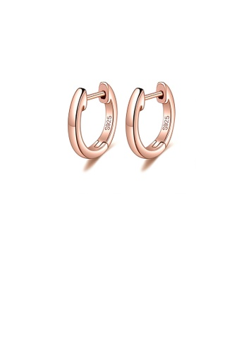 Glamorousky silver 925 Sterling Silver Plated Rose Gold Simple Temperament Geometric Circle Stud Earrings 7162FAC58AD44BGS_1