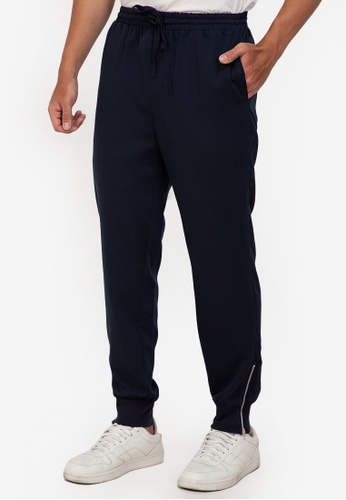 ZALORA BASICS navy Side Zip Jogging Pants F97ACAAA494E69GS_1