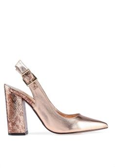 c7a6e1027c3 River Island pink and gold Cally Block Heels Sling Back Court  E897ASH90AC7CAGS 1