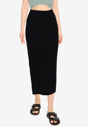 Cotton On black Nightfall Split Knit Midi Skirt CBE12AA707AB9DGS_1