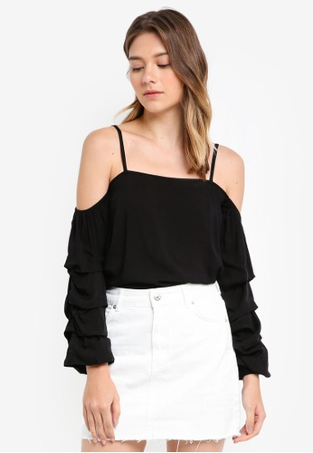 Something Borrowed black Stacked Sleeves Cold Shoulder Top E402EAA57D669FGS_1