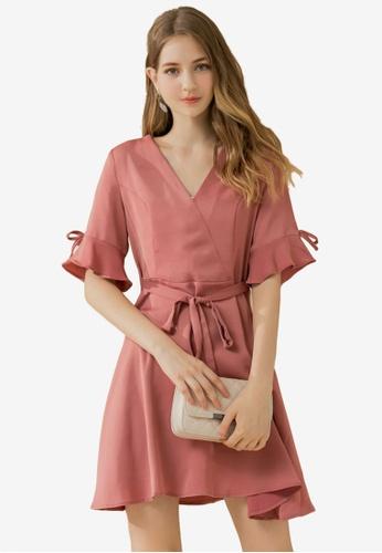 Eyescream red Ribbon Flare Sleeves Dress 0C572AA48DD61AGS_1