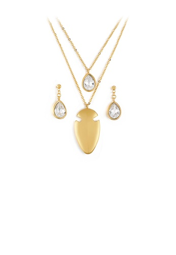Glamorousky white Fashion and Simple Plated Gold Geometric Water Drop-shaped Cubic Zirconia 316L Stainless Steel Necklace and Earrings Set 7C139AC273514BGS_1