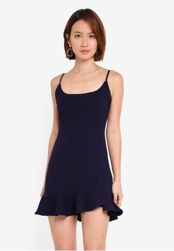 INDIKAH black Ruffle Hem Bodycon Mini Dress 4B6E1AA1CB6D26GS_1