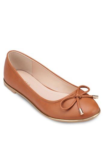 金屬邊飾蝴蝶結平底鞋,zalora 內衣 女鞋, 鞋