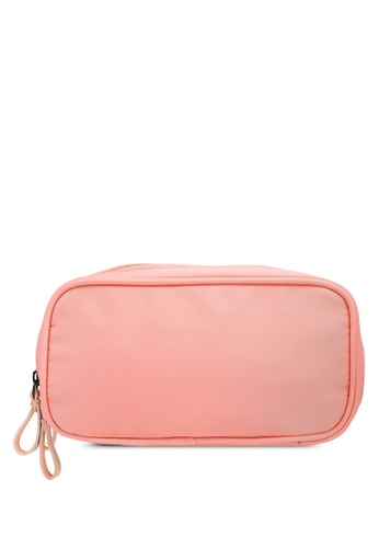 Bagstationz pink Dual-Zip Cosmetic Beauty Pouch BA607AC0RL0NMY_1