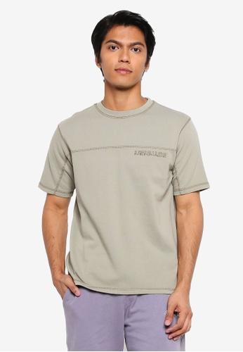Mennace green Short Sleeves Overlock Embroidered T-shirt 6624CAA602C66CGS_1