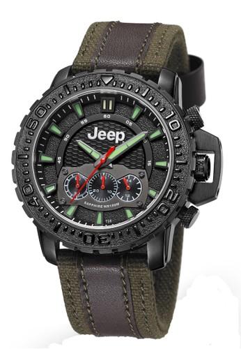 Jeep Grand Cherokee Series JPG91003 Chronograph Men's Watch Black Brown Army Green Leather Canvas Nylon