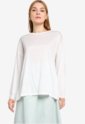 LOWRYS FARM white Oversized Slits T-shirt 2EF5DAA0393441GS_1