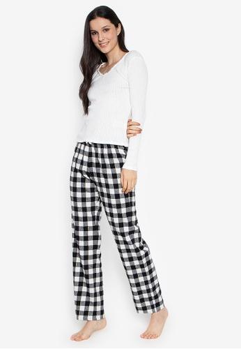 4f51ff4198 Women Secret white Long Pajama Set Black And White Checkered Pants  FC12DAA3E53925GS 1