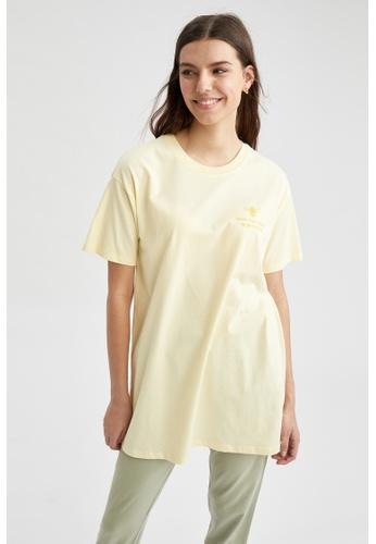 DeFacto beige Short Sleeve Round Neck Tunic 88E2BAAB96C157GS_1