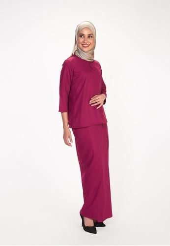 House Of Olsha pink and purple Signature Kamelia Kurung Kedah - Magenta 54394AA39337C1GS_1