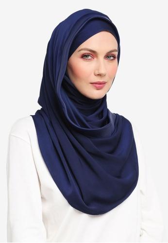 Ilham Echenta for ZALORA blue Organza Lining Aulia Satin Hijab IL554AA0SY2OMY_1