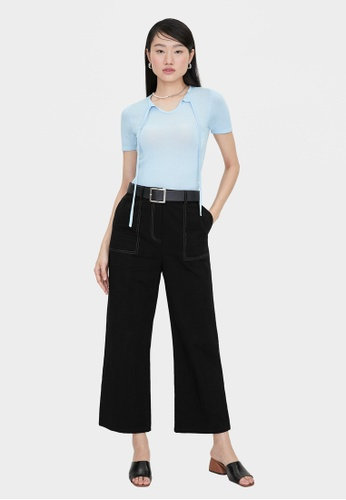 Pomelo black Wide Leg Side Pocket Pants - Black 0E548AA948F60CGS_1