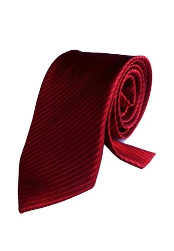 Well Suited red Solid Stripe Necktie 3C17DAC86073C5GS_1
