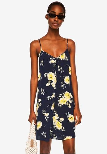 Mango blue and navy Strap Flowy Dress 5290BAAAAA632BGS_1