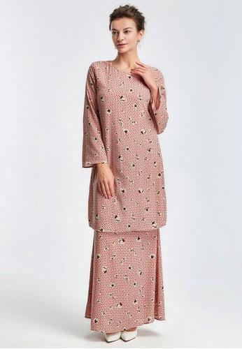 Era Maya pink Flower Decorated Dusty Pink Baju Kurung Moden Chiffon 099A3AAD8C6C20GS_1