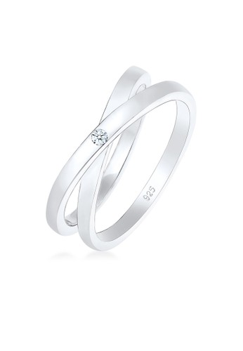 Elli Germany silver Perhiasan Wanita Perak Asli - Silver Cincin Statement Diamond Original FC0DAAC5AD3AB0GS_1