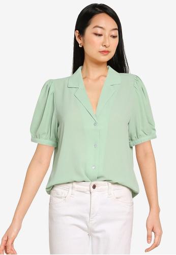 ONLY green Nova Lux Puff Sleeve Shirt 7D213AAFC3E383GS_1