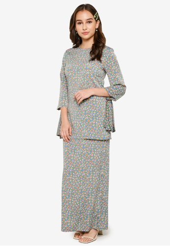Lubna orange and blue Tied Knot Sleeves Kurung Set 9232FAACBC0C11GS_1