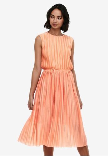 ONLY orange Pleated Dress 4E532AA8CAB2C3GS_1