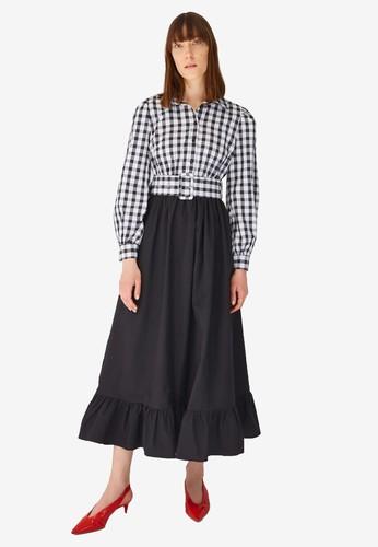 Trendyol black Checkered Maxi Dress D925AAA431E85DGS_1