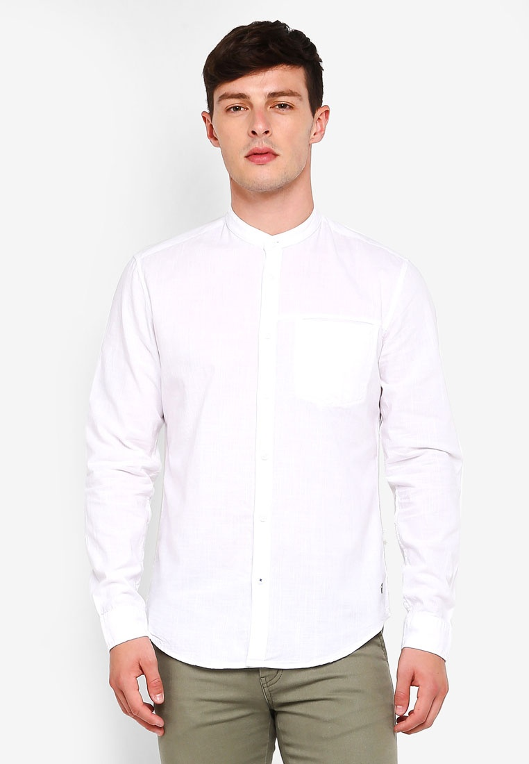 Long Woven Sleeve ESPRIT Shirt White rrqRAdTf