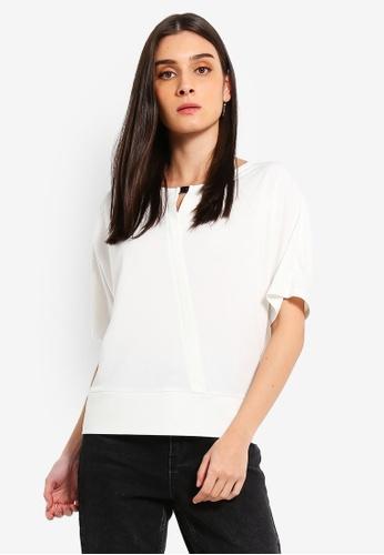 ESPRIT 白色 七分袖上衣 69070AAFCB83F5GS_1