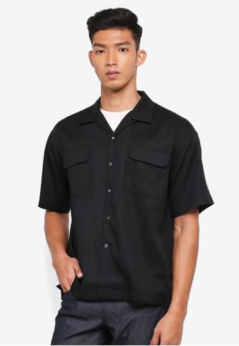 AT TWENTY black Camp Collar Lyocell Shirt 45E31AA1156368GS_1