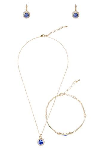 仿鑽寶石圓牌吊墜首飾組合, zalora 衣服尺寸飾品配件, 項鍊