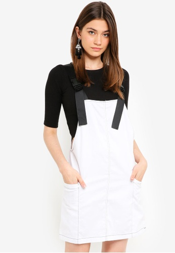Factorie white Contrast Stitch Overall Dress 5F8AEAAE84F6F3GS_1