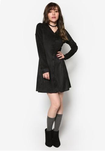 韓系尖沙咀 esprit時尚麂皮A 字長袖連身裙, 服飾, 洋裝