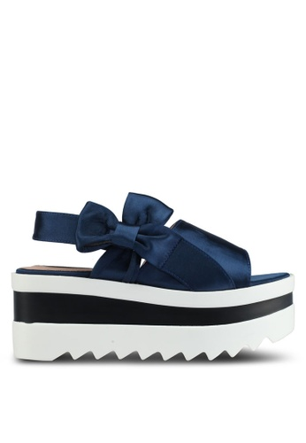 LOST INK navy Beatrice Cleated Flatform Sandals AE655SHB63C16FGS_1