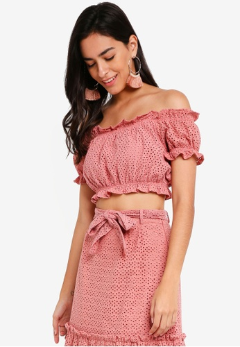 Vero Moda pink Anna Off Shoulder Crop Top 8B297AAE41C21BGS_1