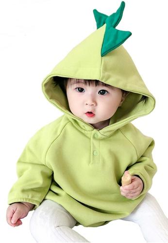 Kiddies Crew green and multi Dinosaur Pop Up Spikes Boys Girls Baby Kids Long Sleeves Romper Hoodie Onesie Overalls Bodysuit 245B6KA9ECDFB6GS_1