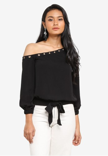 Preen & Proper black Toga Top With Eyelet Detail D8DFEAAF06FDD0GS_1