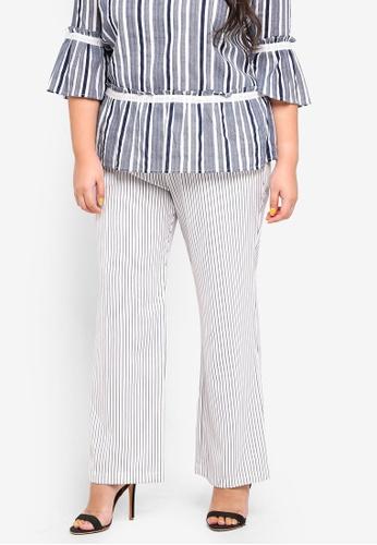 Ex'otico white Plus Size Striper Trousers 1D72BAA7E900AAGS_1