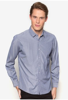 【ZALORA】 貼身細條紋長袖襯衫