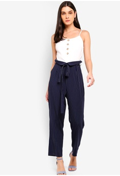 54d63bfff86 ZALORA white and navy Paperbag Jumpsuit CC2A7AA194DFF9GS 1
