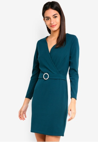 Dorothy Perkins green Teal Embellished Buckle Bodycon Dress 9535AAAC3F34CAGS_1