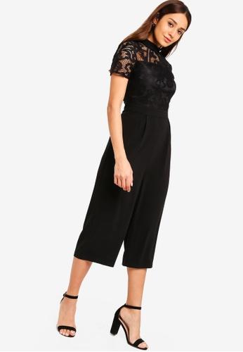 ZALORA black Lace Jumpsuit With Collar 9D8F0AAF50A7FBGS_1