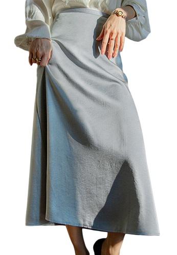 Sunnydaysweety blue French Retro Silk High Waist Midi Skirt A21031922BL FF327AAACE754AGS_1