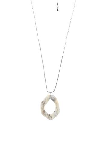GLOBAL WORK silver Long Geo Plate Necklace 8EEEDACFF094D1GS_1