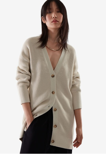COS beige Midi Knitted Cardigan AED7BAAB09A8A4GS_1