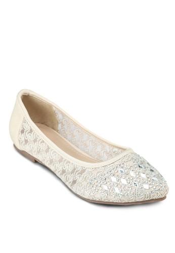 zalora 折扣碼閃飾尖頭平底鞋, 女鞋, 鞋